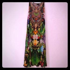 Czarina viscose silk maxi dress vibrant print